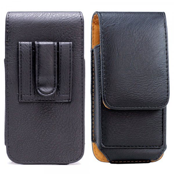 Wholesale iPhone 8 Plus / 7 Plus / 6S / 6 Plus Vertical Card Pocket Double Loop Belt Clip Pouch (Black)