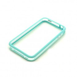 iPhone 4S 4 Bumper with Chrome Button (Blue - Clear)