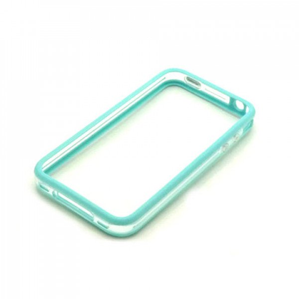Wholesale iPhone 4S 4 Bumper with Chrome Button (Blue - Clear)