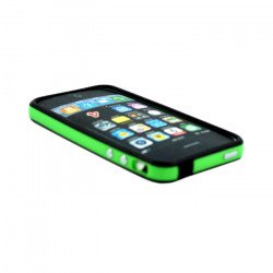 iPhone 4S 4 Bumper with Chrome Button (Black - Green)