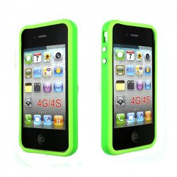 iPhone 4S 4 Bumper with Chrome Button (Green)