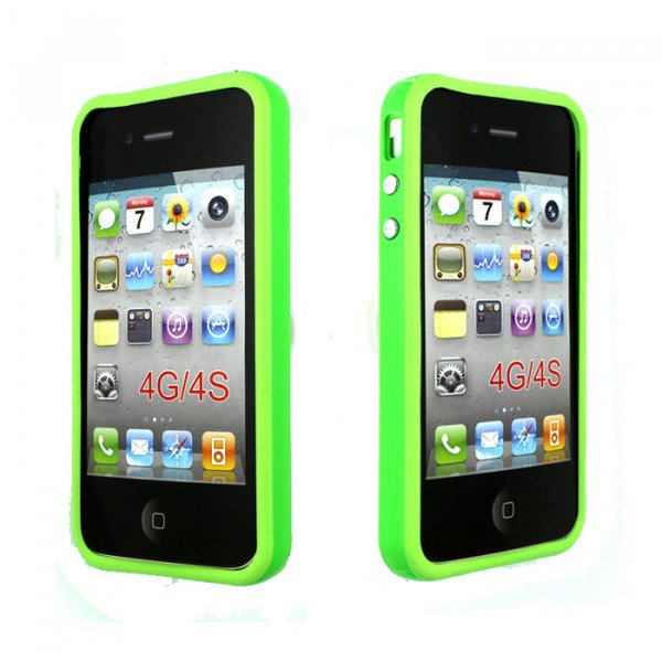 Wholesale iPhone 4S 4 Bumper with Chrome Button (Green)
