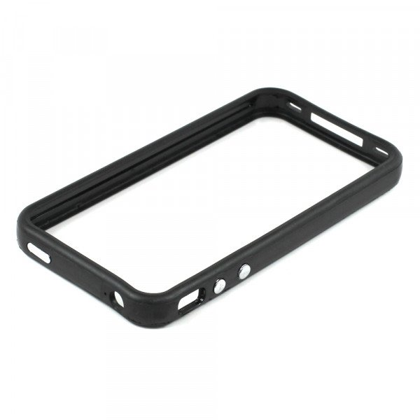 Wholesale iPhone 4S 4 Bumper with Chrome Button (Black)