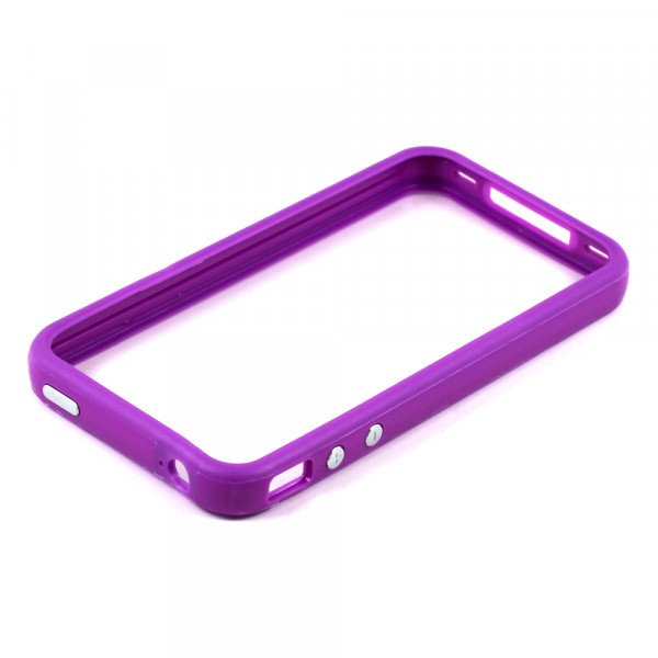 Wholesale iPhone 4S 4 Bumper with Chrome Button (Purple)