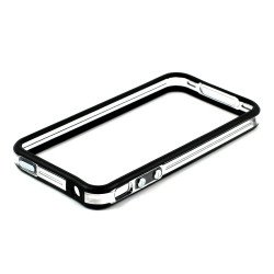 iPhone 4S 4 Bumper with Chrome Button (Black - Clear)