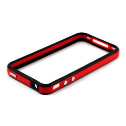 iPhone 4S 4 Bumper with Chrome Button (Black - Red)