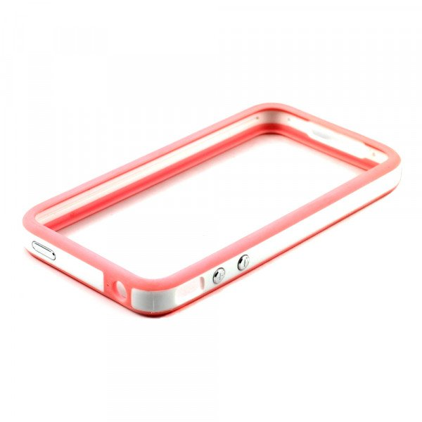 Wholesale iPhone 4S 4 Bumper with Chrome Button (PInk - White)