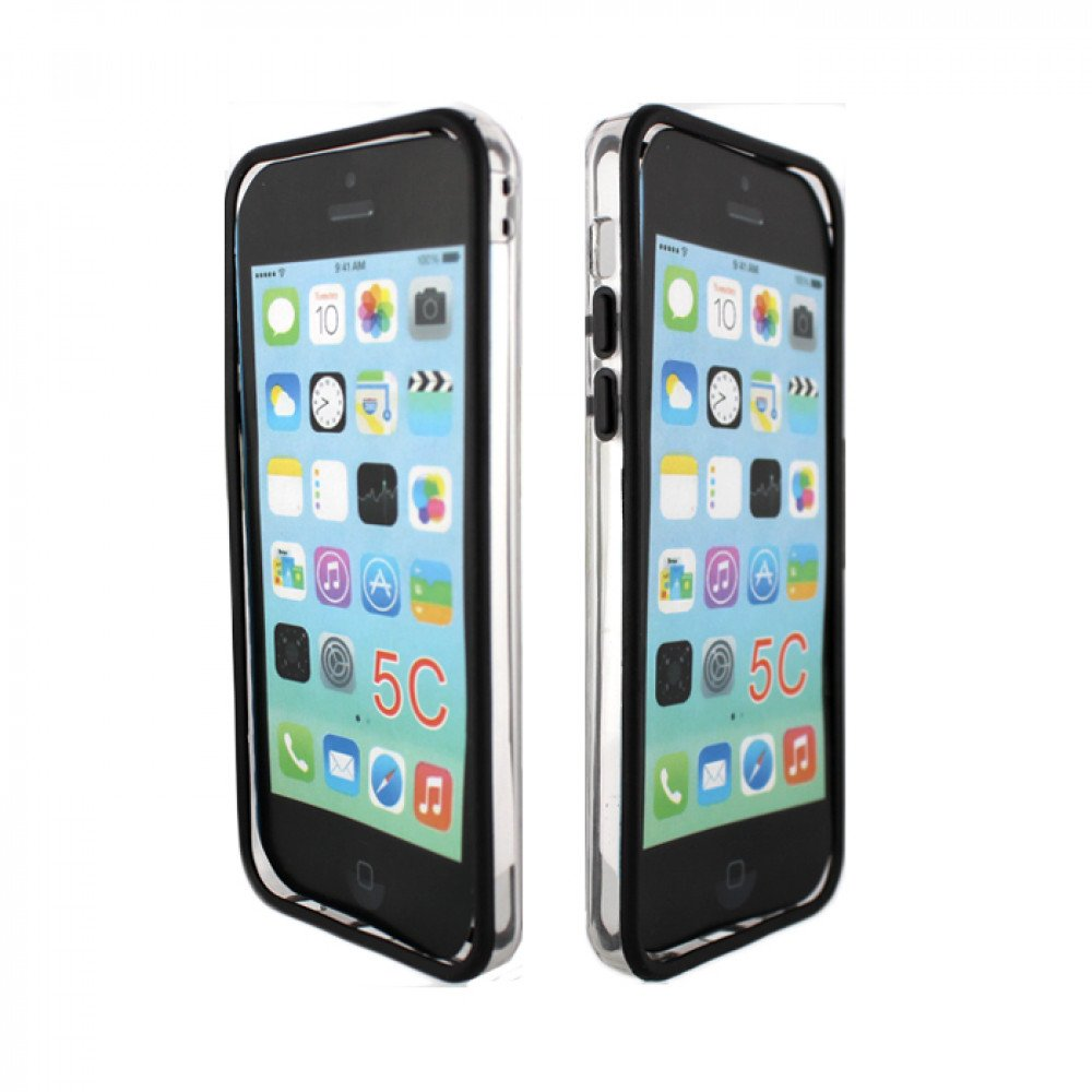Wholesale iPhone 5C Bumper Case (Black - Clear)