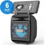 Wholesale LED Light Portable Phone Holder Stand Bluetooth Wireless Speaker with FM Radio, Micro SD, Flash Drive Slot, Aux Port, Built In Mic KMS1181 (Black)
