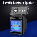 Wholesale LED Light Portable Phone Holder Stand Bluetooth Wireless Speaker with FM Radio, Micro SD, Flash Drive Slot, Aux Port, Built In Mic KMS1182 (Black)