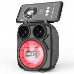 Wholesale LED Light Portable Phone Holder Stand Bluetooth Wireless Speaker with FM Radio, Micro SD, Flash Drive Slot, Aux Port, Built In Mic KMS1182 (Red)