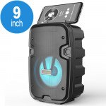 Wholesale LED Light Portable Phone Holder Bluetooth Wireless Speaker with FM Radio, Micro SD, Flash Drive Slot, Aux Port, Wired Microphone Port CS2002 (Black)