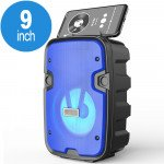 Wholesale LED Light Portable Phone Holder Bluetooth Wireless Speaker with FM Radio, Micro SD, Flash Drive Slot, Aux Port, Wired Microphone Port CS2002 (Blue)