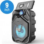 LED Light Portable Phone Holder Bluetooth Wireless Speaker with FM Radio, Micro SD, Flash Drive Slot, Aux Port, Wired Microphone Port CS2005 (Black)