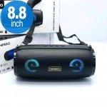 Carry Strap LED Light Portable Bluetooth Wireless Speaker with FM Radio, Micro SD, Flash Drive Slot, Aux Port (Black)