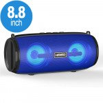 Carry Strap LED Light Portable Bluetooth Wireless Speaker with FM Radio, Micro SD, Flash Drive Slot, Aux Port (Blue)