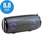 Carry Strap LED Light Portable Bluetooth Wireless Speaker with FM Radio, Micro SD, Flash Drive Slot, Aux Port (Gray)