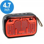 Table Pro Shiny Radio Music Design Bluetooth Wireless Speaker with FM Radio, Micro SD, Flash Drive Slot, Built In Mic (Red)