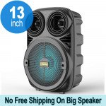 Wholesale Carry To Go Handle Large LED Portable Wireless Bluetooth Speaker with Microphone and Wireless Remote KMS3381 (Black)