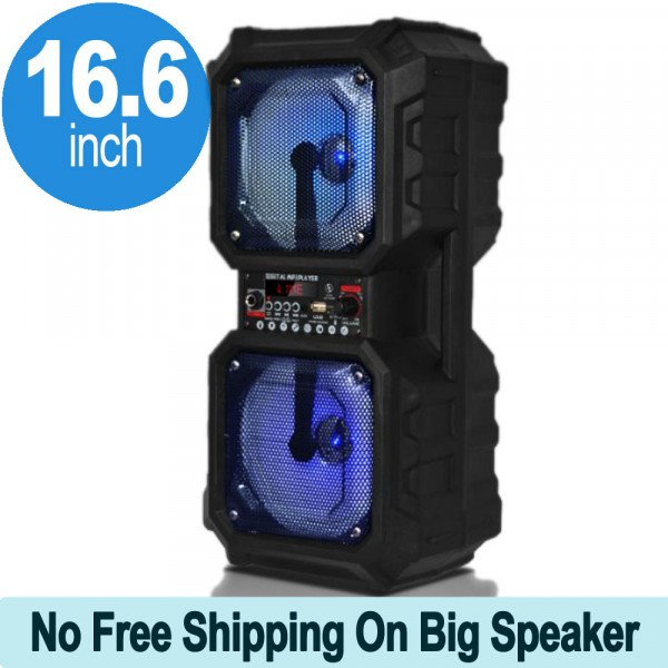 Wholesale Dumbbell Design Large LED Portable Bluetooth Speaker with Microphone and Wireless Remote QS212 (Black)