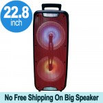 Tall Loud Sound Large LED Carry Handle Portable Bluetooth Speaker with Microphone and Wireless Remote QS220 (Red)