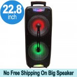 Tall Loud Sound Large LED Carry Handle Portable Bluetooth Speaker with Microphone and Wireless Remote QS220 (Black)