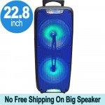 Tall Loud Sound Large LED Carry Handle Portable Bluetooth Speaker with Microphone and Wireless Remote QS220 (Blue)