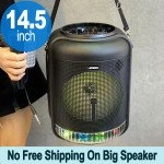 Round Shape Carry Strap Large LED Portable Wireless Bluetooth Speaker with Microphone and Wireless Remote QS4001 (Black)