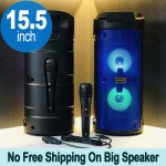 Tower Design Large LED Portable Bluetooth Speaker with Microphone and Wireless Remote QS6681 (Blue)
