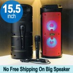 Tower Design Large LED Portable Bluetooth Speaker with Microphone and Wireless Remote QS6681 (Red)