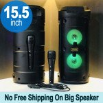 Tower Design Large LED Portable Bluetooth Speaker with Microphone and Wireless Remote QS6681 (Black)