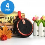 Round Style Portable Bluetooth Speaker with Carry Strap BS119 (Red)
