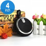 Round Style Portable Bluetooth Speaker with Carry Strap BS119 (Silver)