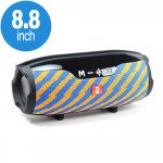 Drum Style Loud Portable Bluetooth Speaker with Phone Holder and Long Strap E14+ (Blue Yellow)