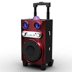 LED Light Extra Large Woofer Portable Bluetooth Speaker MS72BT (Red)