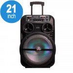X-Large Trolley Portable LED Bluetooth Speaker with Microphone and Remote QS1204 (Black)