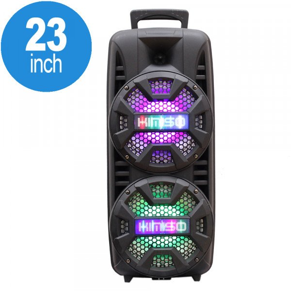 Wholesale LED High Tall Portable Carry Handle Bluetooth Speaker with Microphone and Remote QS210 (Black)