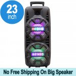 LED High Tall Portable Carry Handle Bluetooth Speaker with Microphone and Remote QS210 (Black)