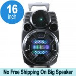 Cool Flashing LED Trolley Portable Bluetooth Speaker with Microphone and Remote QS2801 (Gray)