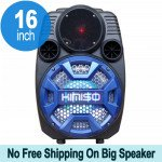 Cool Flashing LED Trolley Portable Bluetooth Speaker with Microphone and Remote QS2801 (Blue)