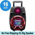 Cool Flashing LED Trolley Portable Bluetooth Speaker with Microphone and Remote QS2801 (Red)