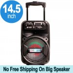 Large Trolley LED Portable Bluetooth Speaker with Microphone and Remote QS810 (Black)
