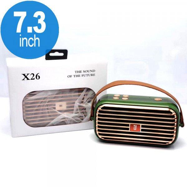 Wholesale Retro Boom Box Radio Style Portable Bluetooth Speaker X26 (Green)