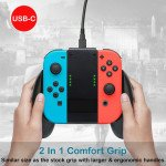 Wholesale Portable Joy-con Charger Dock Controller Grip with USB-C Cable and Battery Indicators, High Speed Charging While Play for Nintendo Switch Joy-Con (Black)