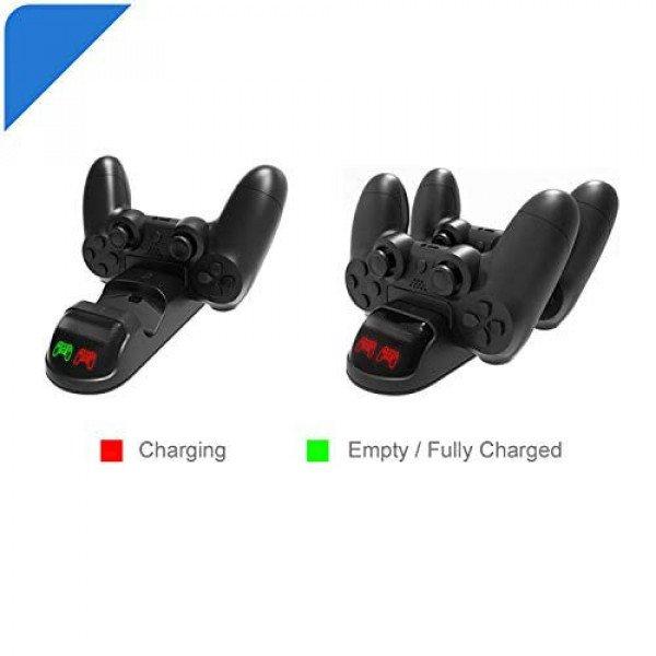 Wholesale Controller USB Charging Station Dock for 2 DualShock 4, PlayStation 4 Charging Station for Sony Playstation4 / PS4 / PS4 Slim / PS4 Pro Controller (Black)