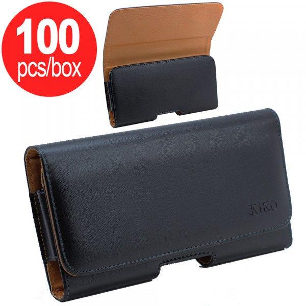 Wholesale 100pc Lot of Horizontal Slim Armor Belt Pouch Large 21 (Black) - Box Deal