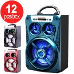 12pc Lot of LED Light Large Woofer Portable Bluetooth Speaker MS167BT - Mix Color - Box Deal