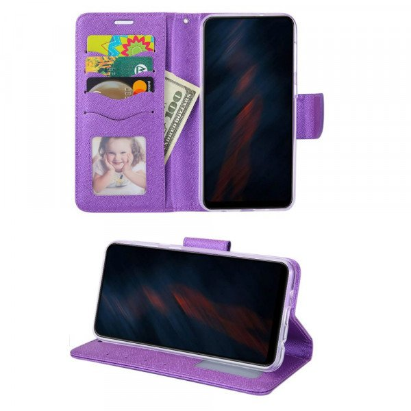 Wholesale Tuff Flip PU Leather Simple Wallet Case for Samsung Galaxy A71 5G (Purple)