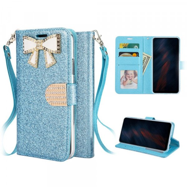 Wholesale Ribbon Bow Crystal Diamond Wallet Case for Samsung Galaxy A71 5G (Light Blue)