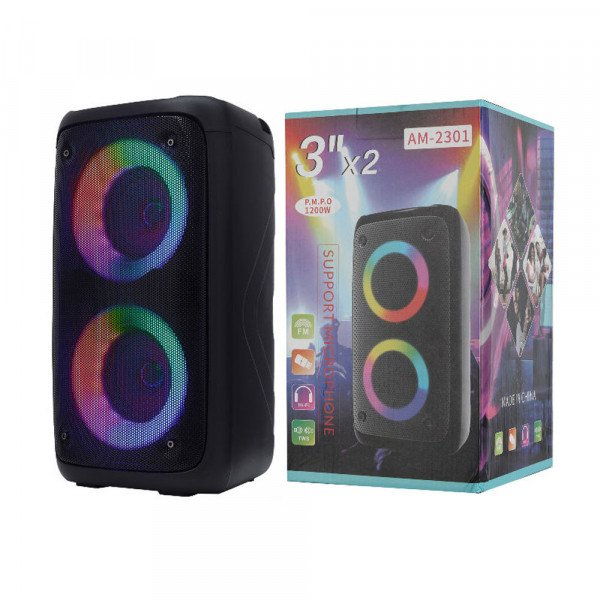 Wholesale Double RGB LED Color Light Music Portable Wireless Super Bluetooth Speaker for iPhone, Cell Phone, Universal Devices AM2301 (Black)